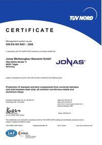 Zertifikat DIN EN ISO 9001 EN